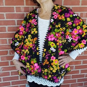 Vintage 60s neon floral wrap